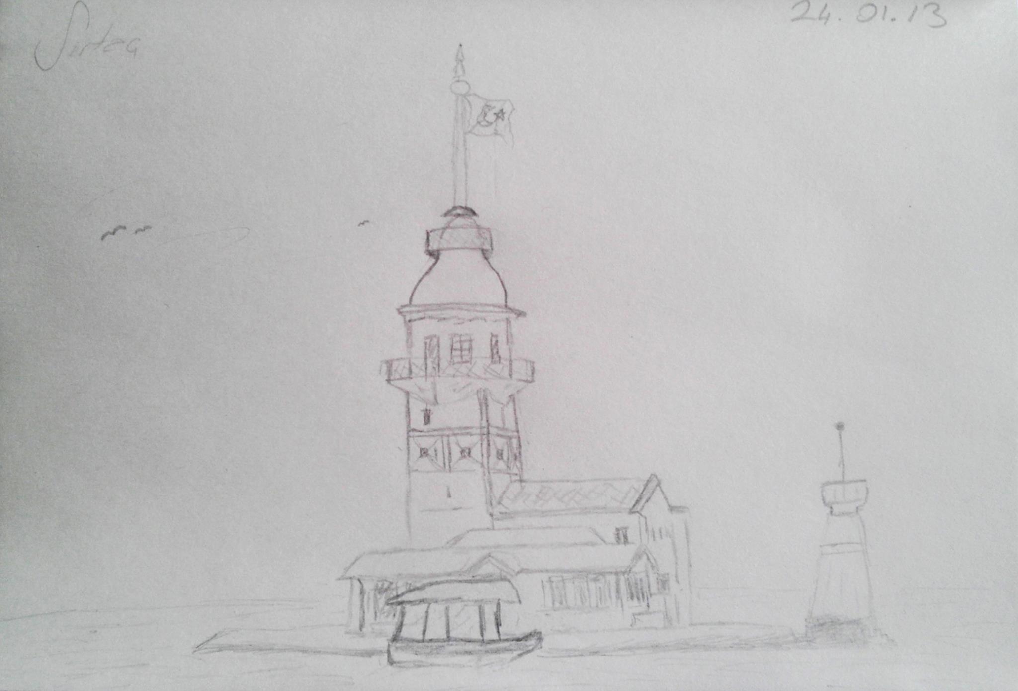 Kara Kalem Kız Kulesi Çizimim