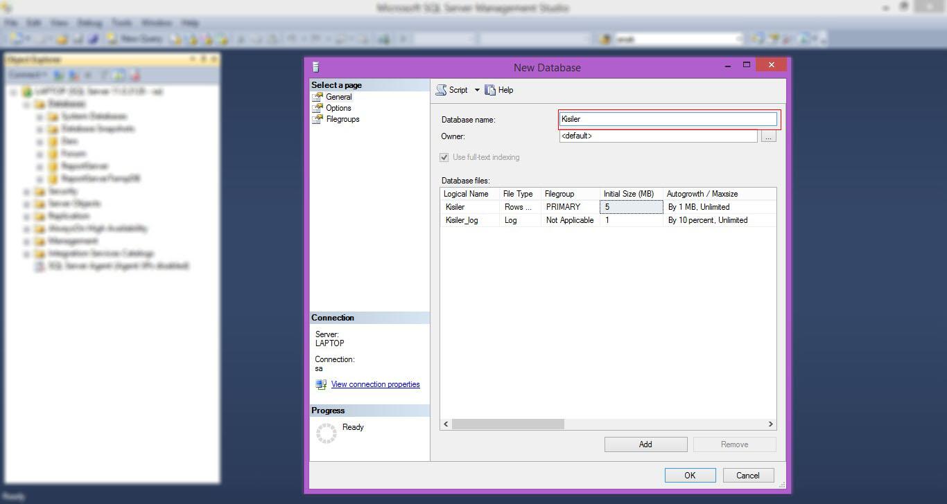 SQL Server Veritabanı Oluşturma-03